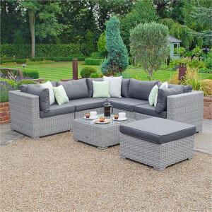 Nova Chester Rattan Corner Sofa Set in White Wash