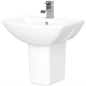 Balterley Destin 1 Tap Hole Basin and Semi Pedestal - 500mm