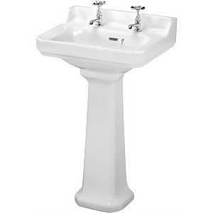 Balterley Kinston 2 Tap Hole Basin and Full Pedestal - 560mm