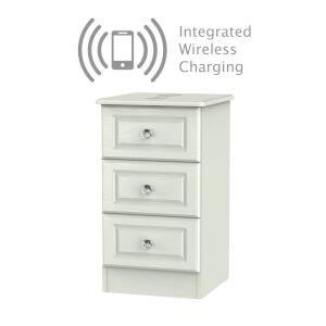 Florence Kaschmir Ash 3 Drawer Bedside Cabinet - Rechargeable