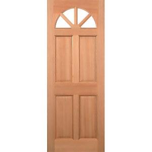 Carolina External Glazed Unfinished Hardwood 4 Lite 4 Panel Door - 813 x 2032mm