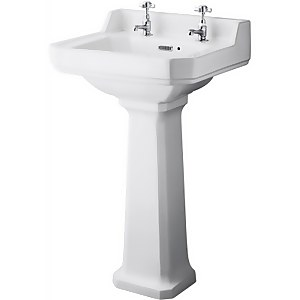 Balterley Harrington 2 Tap Hole Basin and Pedestal - 500mm