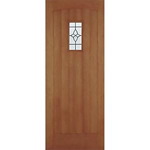 Cottage External Glazed Unfinished Hardwood 1 Lite Door - 838 x 2057mm