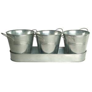 Zinc Herb Pots and Tray 30cm