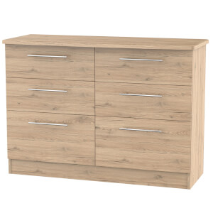 Siena Bordeaux Oak 6 Drawer Midi Chest