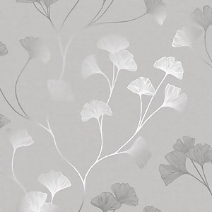 Holden Decor Glistening Ginkgo Floral Smooth Metallic Grey and Silver Wallpaper