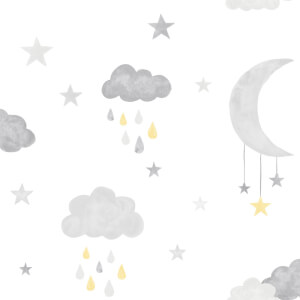 Grandeco Moon & Stars Yellow Wallpaper