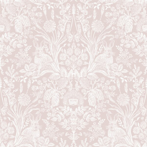 Holden Decor Harlen Damask Smooth  Dusky Pink Wallpaper