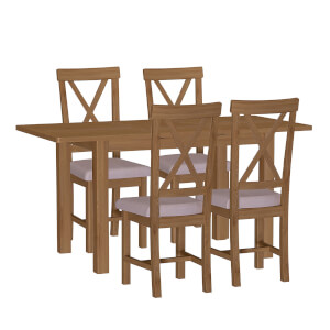 Newlyn 1.2m Extending 4 Seater Dining Set - Oak