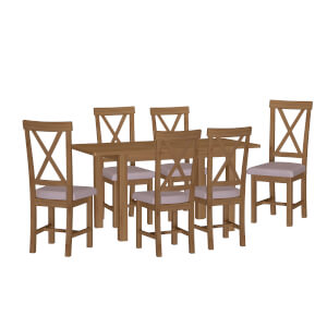 Newlyn 1.2m Extending 6 Seater Dining Set - Oak