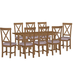 Newlyn 1.6m Extending 8 Seater Dining Set - Oak