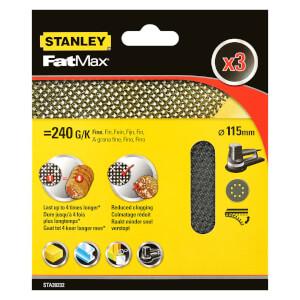 Stanley Fatmax - 3x 240g Quick Fit Random Orbital Sanding Mesh Discs 115mm