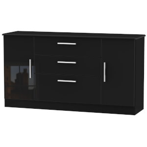 Kensington Wide 2 Door 3 Drawer Sideboard - Black