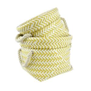 Storage Baskets - Ochre & White - Set of 2 Baskets