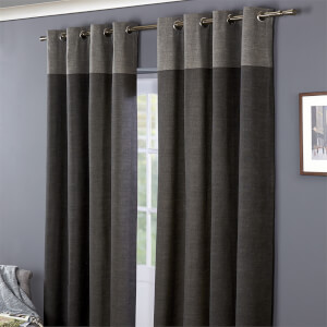 Oslo 100% Cotton Eyelet Curtains 90 x 90 - Charcoal