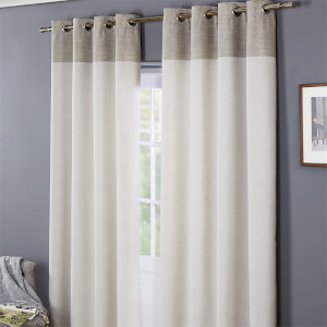 Oslo 100% Cotton Eyelet Curtains 66 x 72 - Grey