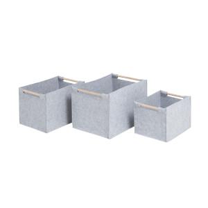 Grey Felt Baskets with Wooden Handles - Set of 3