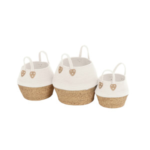 White Rope Baskets - Set of 3