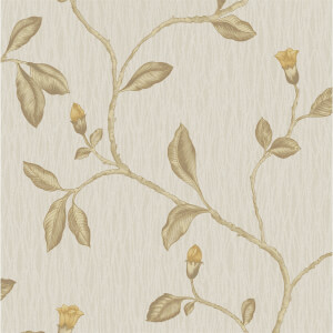 Holden Decor Lia Floral Textured  Yellow and Beige Wallpaper