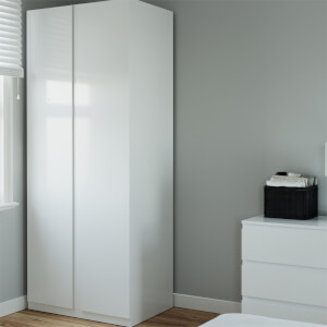 Modular Bedroom Handleless Double Wardrobe - White