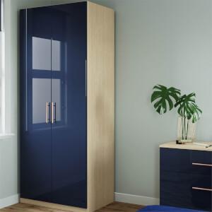 Modular Bedroom Slab Double Wardrobe - Navy Blue