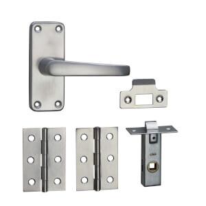 Homebuild Short Backplate Internal Door Pack - Brushed Aluminium
