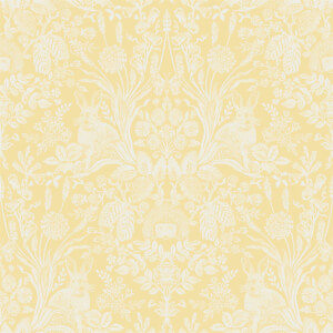 Holden Decor Harlen Woodland Damask Smooth Yellow Wallpaper