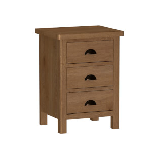 Newlyn 3 Drawer Bedside Table - Oak