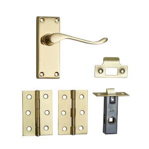 Homebuild Victorian Scroll Short Backplate Internal Door Pack - Polished Brass