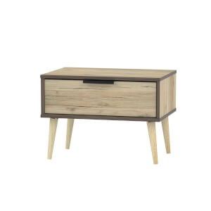 Tokyo 1 Drawer Bedside Table with Dark Edge - Oak