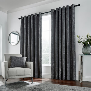 Peacock Blue Hotel Collection Roma Lined Curtains 90 x 54 - Gunmetal