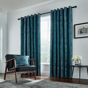 Peacock Blue Hotel Collection Roma Lined Curtains 66 x 90 - Emerald