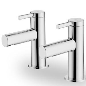 Glenoe Bath Pillar Taps - Chrome