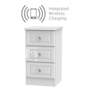 Stonehaven 3 Drawer Bedside with Wireless Charging - White