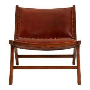 Inca Leather Angled Chair - Antique Brown