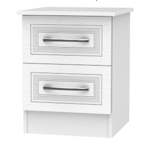 Milton 2 Drawer Bedside Table - White