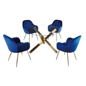 Capri 4 Seater Dining Set - Lara Dining Chairs - Blue