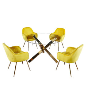 Capri 4 Seater Dining Set - Lara Dining Chairs - Yellow