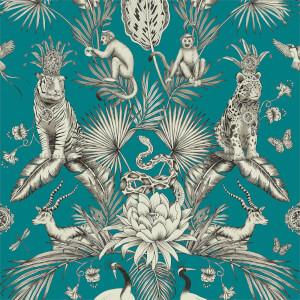 Belgravia Decor Menagerie Animal Smooth Teal Wallpaper