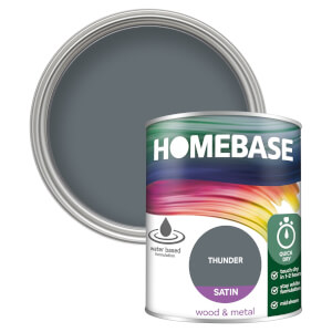 Homebase Interior Quick Dry Satin Paint - Thunder 750ml