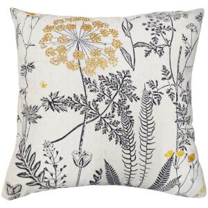 Woodland Flora Cushion - Ochre and Grey