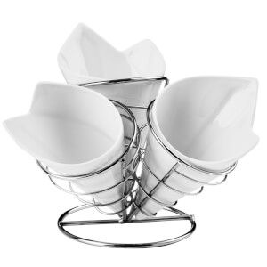 French Fry Cone Set with Chrome Finish