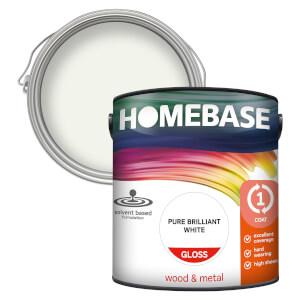 Homebase Interior One Coat Gloss Paint - Brilliant White 2.5L