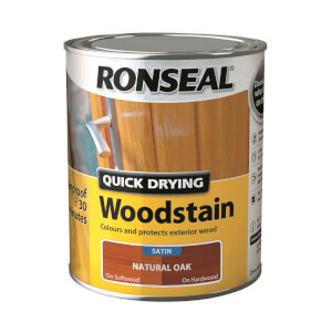 Ronseal Quick Drying Woodstain - Natural Oak Satin 750ml