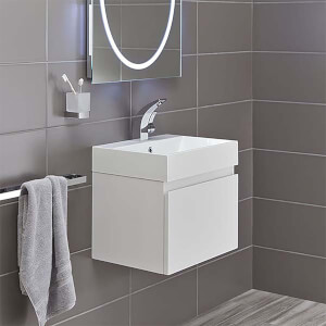 Bathstore Mino 500mm Basin & Wall Mounted Vanity Unit - White Gloss