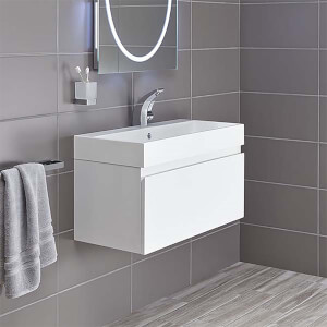 Bathstore Mino 800mm Basin & Wall Mounted Vanity Unit - White Gloss