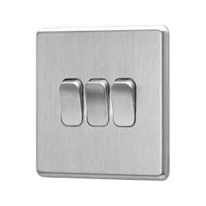 Arlec Fusion 10A 3Gang 2Way Stainless Steel Triple light switch