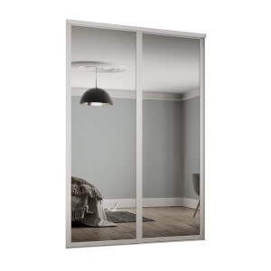 Shaker 2 Door Sliding Wardrobe Kit Mirror with White Frame (W)1753 x (H)2260mm