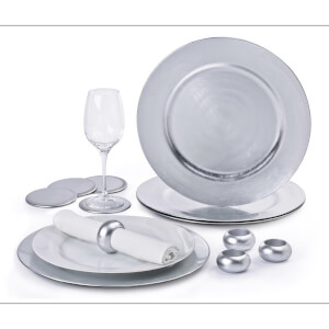 12 Piece Silver Charger Plate Set