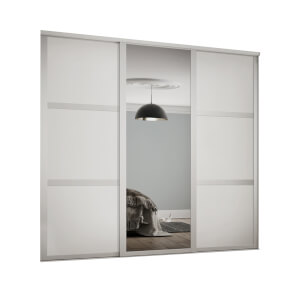 Shaker 3 Door Sliding Wardrobe Kit White Panel / Mirror with White Frame (W)1680 x (H)2260mm
